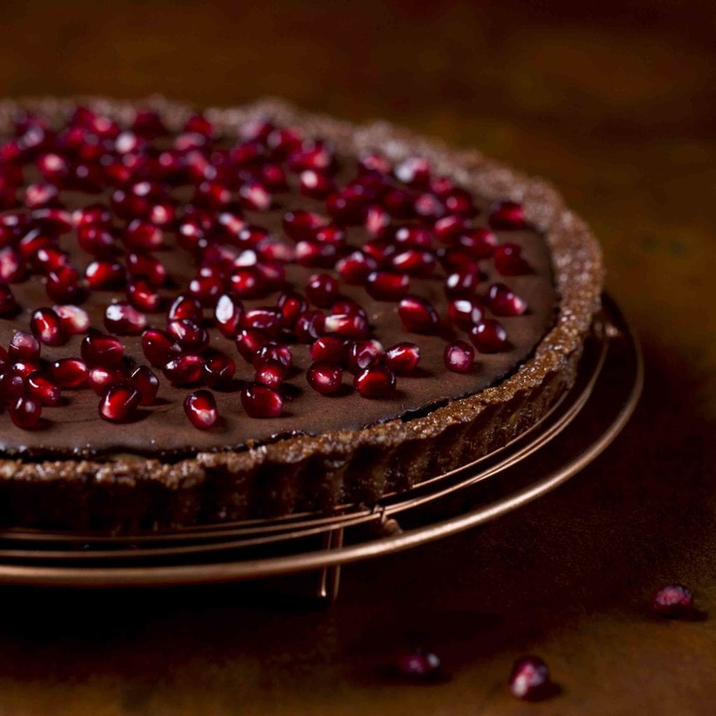 Rebecca Coomes the healthy gut raw Chocolate and mandarin tart recipe
