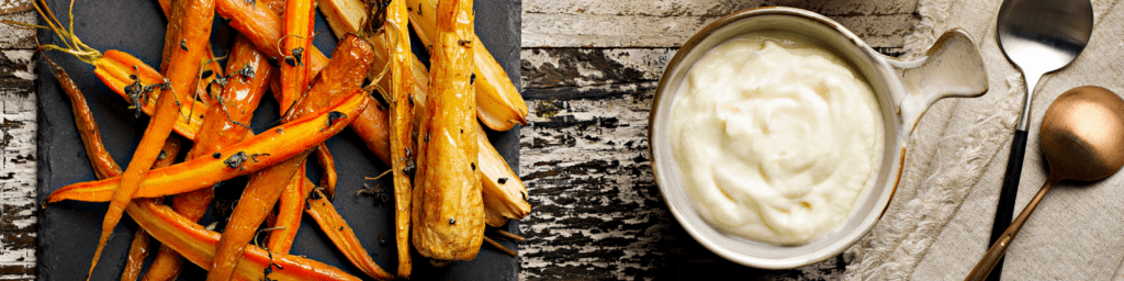 Rebecca Coomes the healthy gut blog Roast Carrots And Cauliflower Mash Banner Image