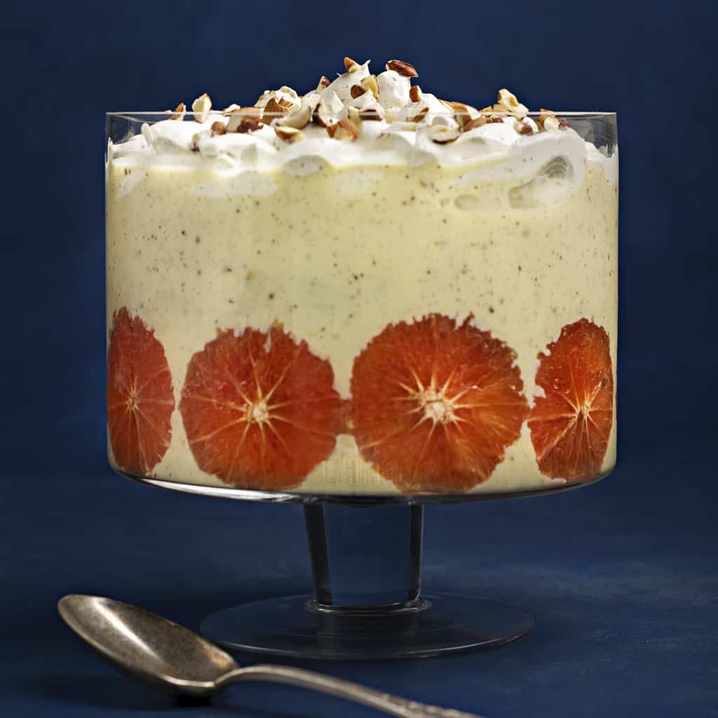 Rebecca Coomes the healthy gut ruby grapefruit and custard trifle recipe