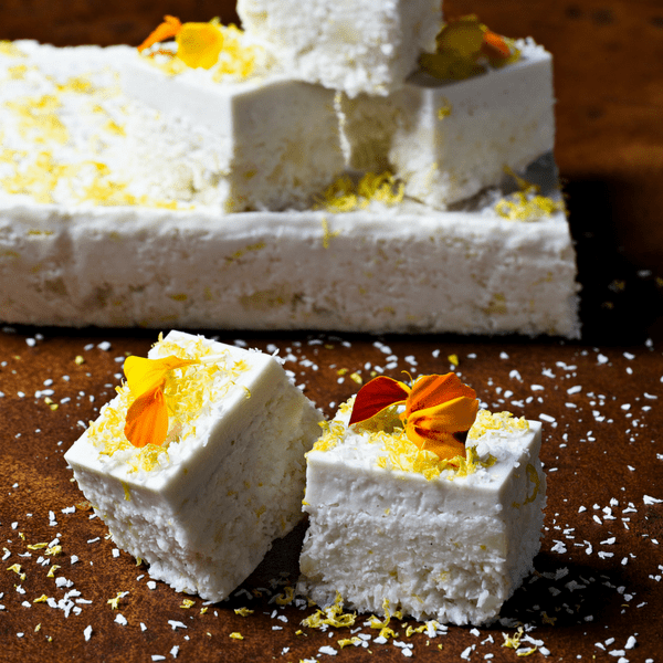 Rebecca Coomes the healthy gut blog SIBO friendly lemon and coconut slice recipe