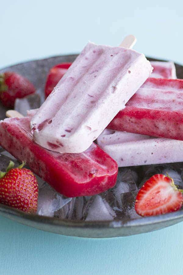 SIBO friendly strawberries and cream popsicles