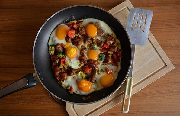 Rebecca Coomes Recipes Baked Eggs With Spanish Sausage