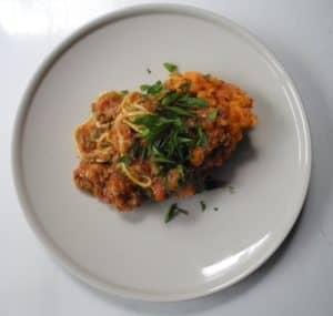 Rebecca Coomes Recipes Bolognese With Sweet Potato Mash