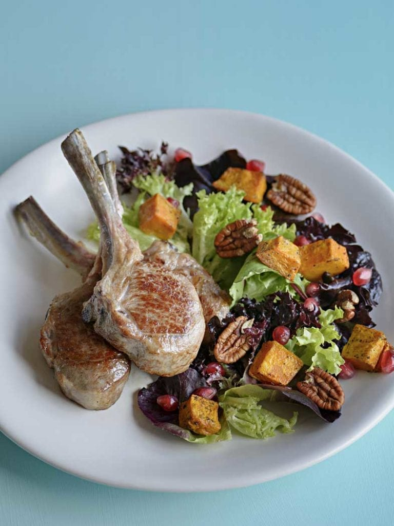 Lamb Cutlets With Pomegranate Salad