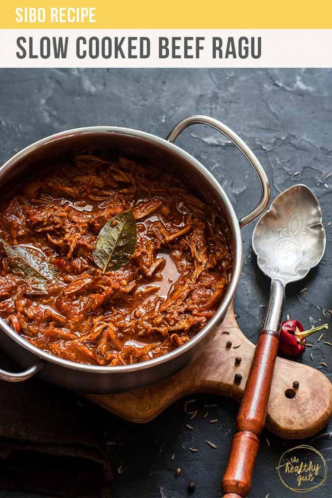 SIBO friendly slow cooked beef ragu recipe. Delicious, rich yet economical. Perfect for easy mid-week dinners. Pairs perfectly with zucchini noodles or steamed vegetables.