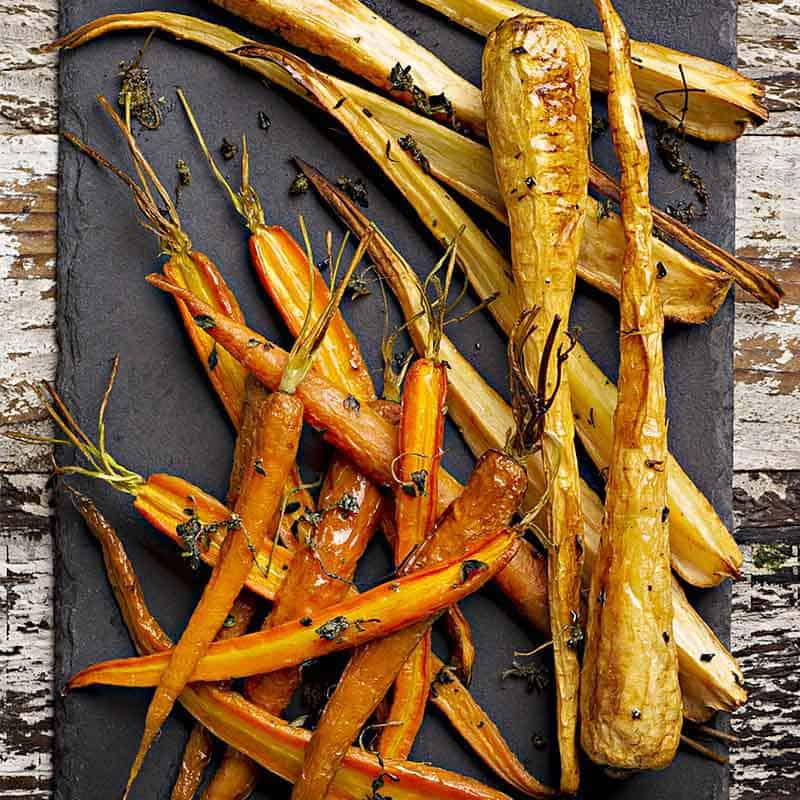 Thyme Roasted Carrots And Parsnips Recipe 800x800
