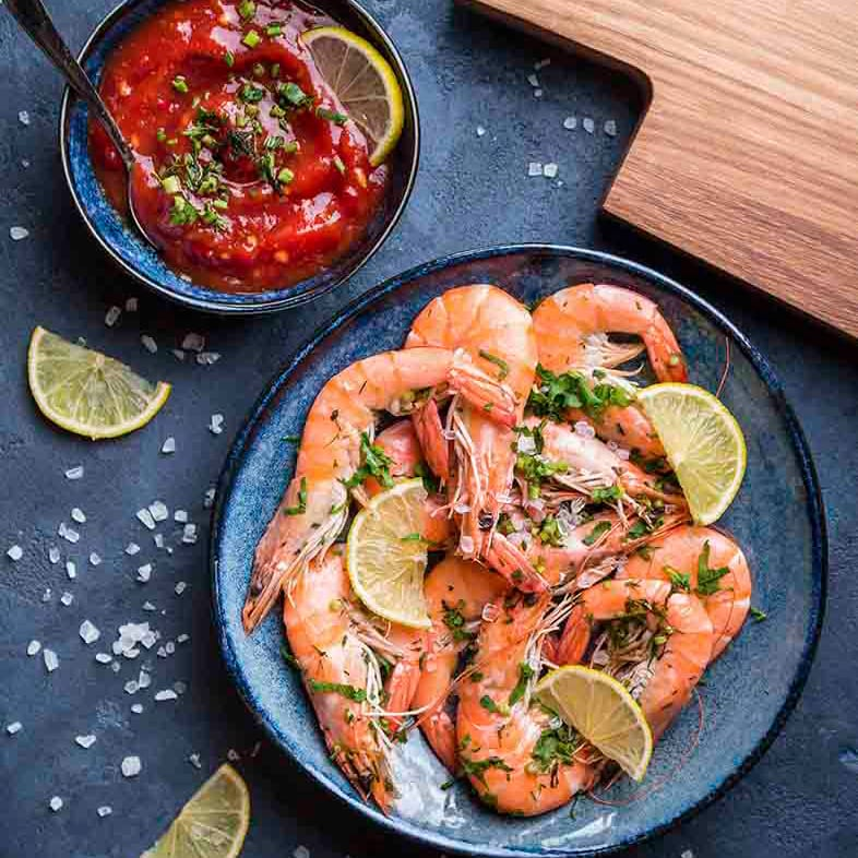 King Prawns With Spicy Salsa Recipe 786x786