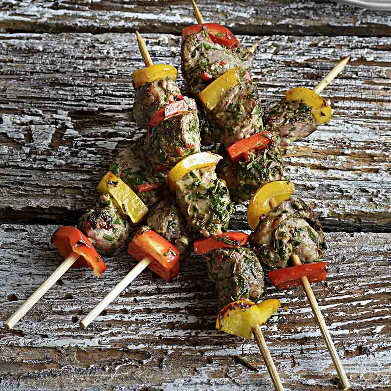 Marinated Lamb Skewers With Greek Style Salad Recipe 800x800